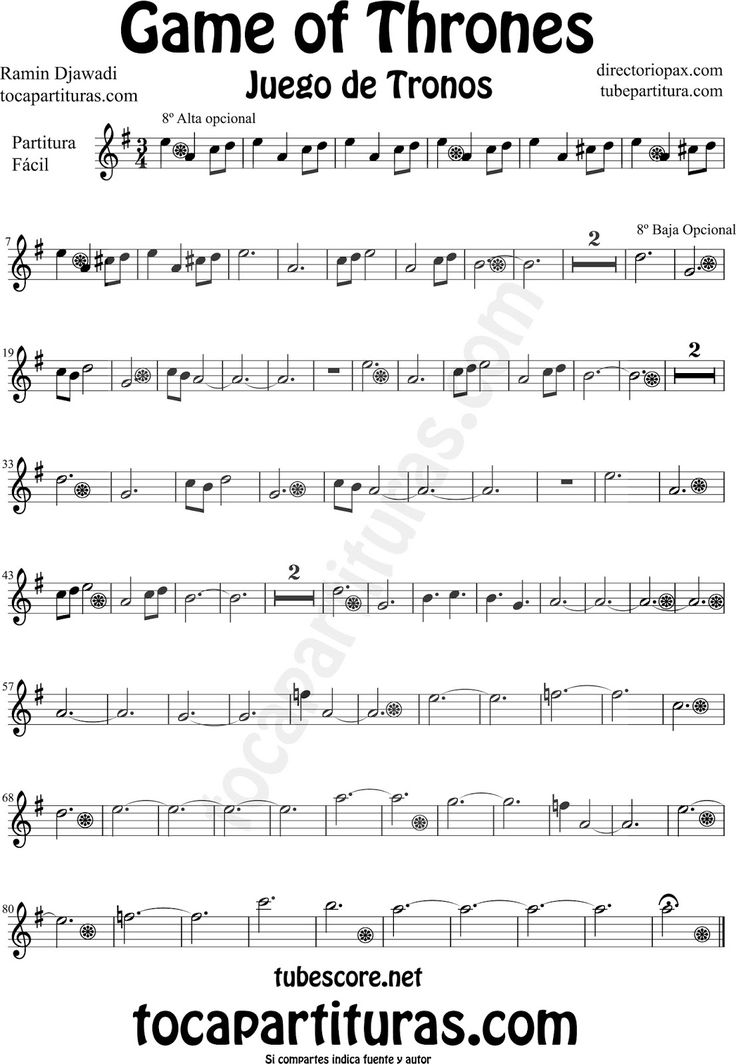 Game of Thrones Sheet Music for Alto and Baritone Saxophone by Ramin ...