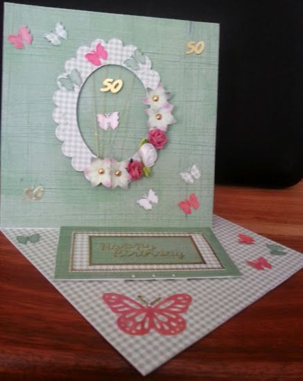 Twisted Easel Card for a 50th birthday.
