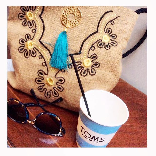 "It's coffee time ... With your handmade ""tagari"" bag  Christina Malle! ☕️ #ss2015#collection#fashion#tagari#handbag#bag#summer#crafts#handmade#christinamalle_bags#Greece#madeingreece#greekdesigners#accessories#summeringreece#summeringreece#toms#tomsgreece#thessaloniki#flagshipstore"