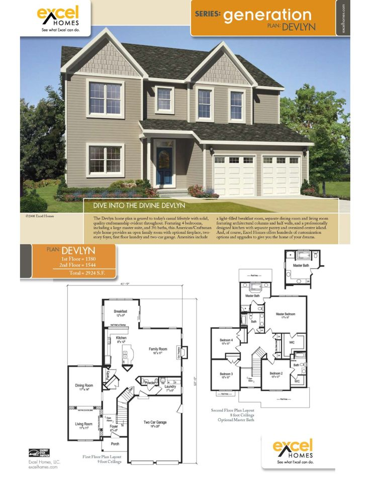 The Devlyn Two Story Home 2924 square feet 4 bedrooms, 3.5 baths For more  information