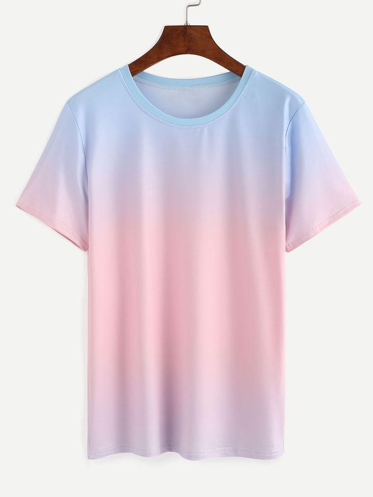 Shop Blue Pink Ombre T-shirt online. SheIn offers Blue Pink Ombre T-shirt & more to fit your fashionable needs.