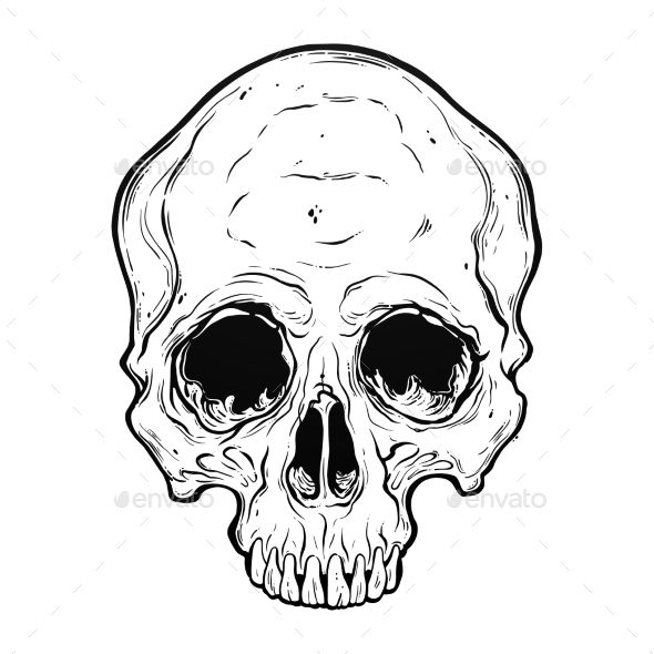 Human Skull Scary Art Hand Drawn In Line Style Isolated Vector Illustration Can Be Tattoo Bag Print T Shirt Print Stick How To Draw Hands Skull Skull Hand