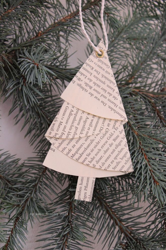 Folded paper Christmas tree decoration.