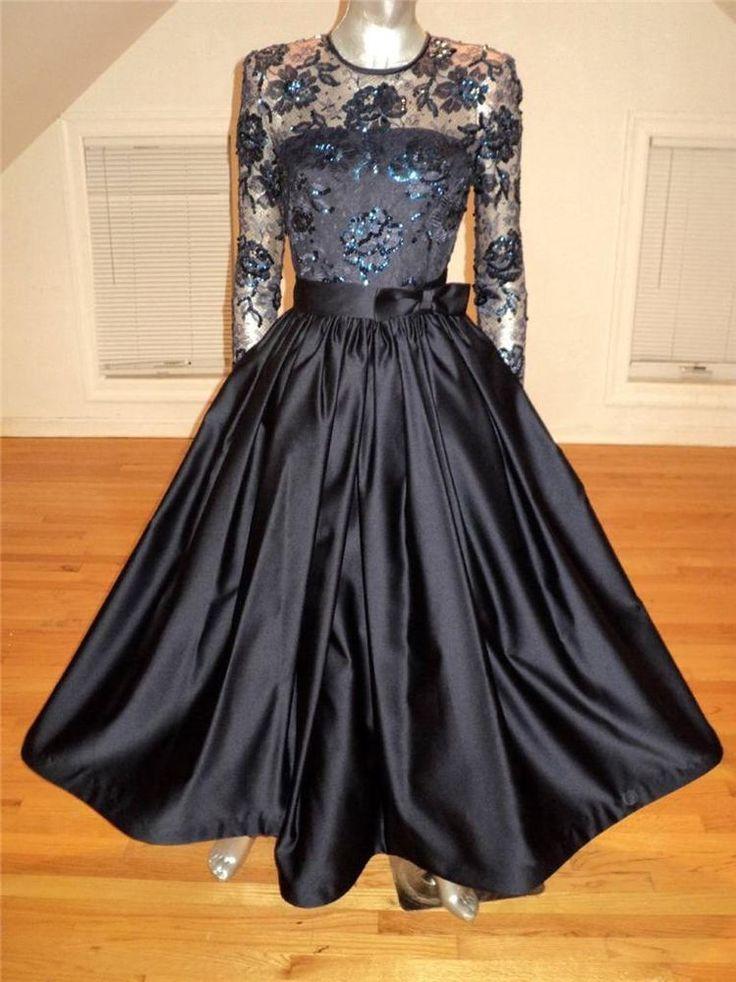 Vintage 1980 Carolina Herrera Couture Navy Gown Illusion Lace Sequin Flowers #CarolinaHerrera