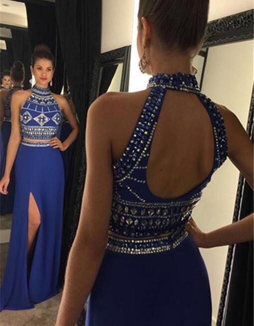 2 pieces Prom Dresses,2 piece Evening Gowns,Simple Formal Dresses,Prom Dresses,Teens Fashion Evening Gown,Beadings Evening Dress,Party Dress,Prom Gowns PD20184030 #teenfashionoutfits #teenageoutfits