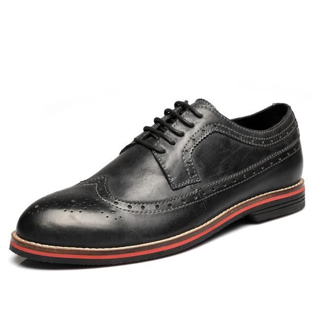 Men's genuine leather shoes available in brown, black and burgundy