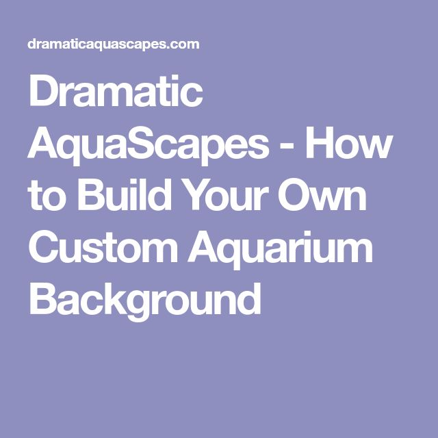 Dramatic AquaScapes - How to Build Your Own Custom Aquarium Background