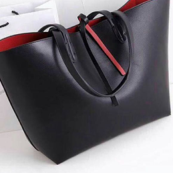 Zara reversible tote bag black/red Zara reversible tote with tie closure. Used twice! Zara Bags Totes