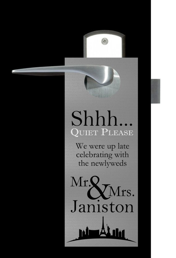 20 Custom Silver Las Vegas Wedding Do-Not-Disturb Door Hangers. For Wedding Welcome Bags, hospitality gifts for out of town hotel guests
