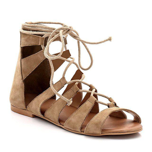 Sandálias rasas em pele, estilo romano, lisas