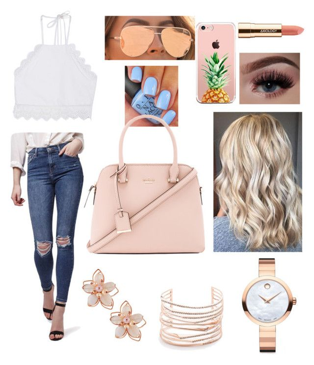 """Lunch Date and photo shoot with Friends"" by shippeyks on Polyvore featuring Quay, Movado, Topshop, Front Row Shop, Alexis Bittar, NAKAMOL, Axiology, Kate Spade and The Casery"