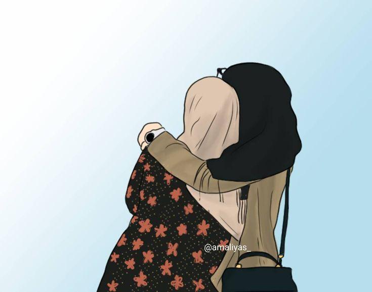 Gambar Kartun Muslimah Cantik Berkacamata: Gambar Kartun Muslimah Bercadar Menatap Langit
