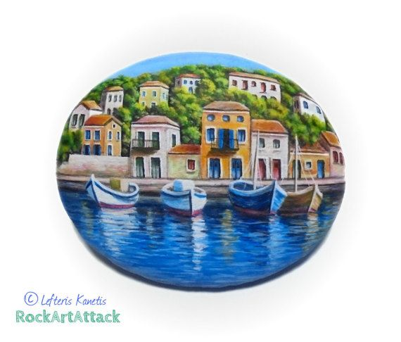 Painted Rock Boats On The Harbour Of A Greek Fishing Vilagge  ! Original Acrylic painting, Unique Painted Stone, Coverd with Glossy varnish.