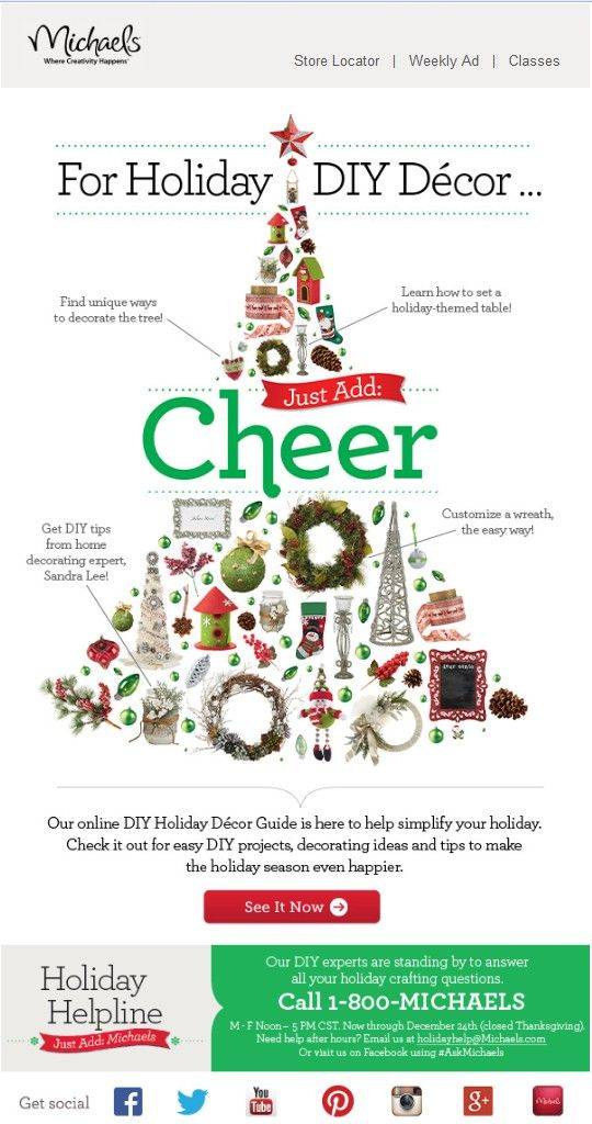 clever Christmas DIY guide email design from Michael's