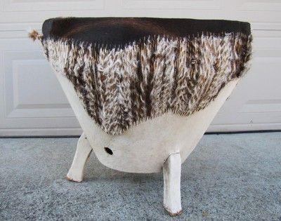 Vintage LARGE AFRICAN Handmade Wooden Drum Fur Lined Skin   Drum Side Table  And Drums