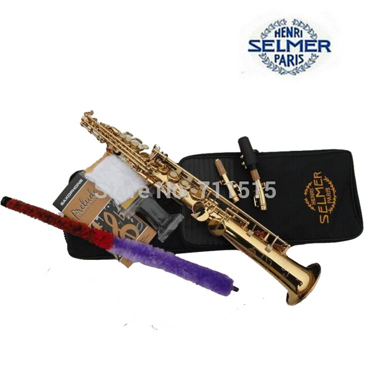 Henry Selmer Saxophone Reference 54 B the Straight Sax Pipe Gold Plated Soprano Saxophone Music Instrument Professional Bb Sax