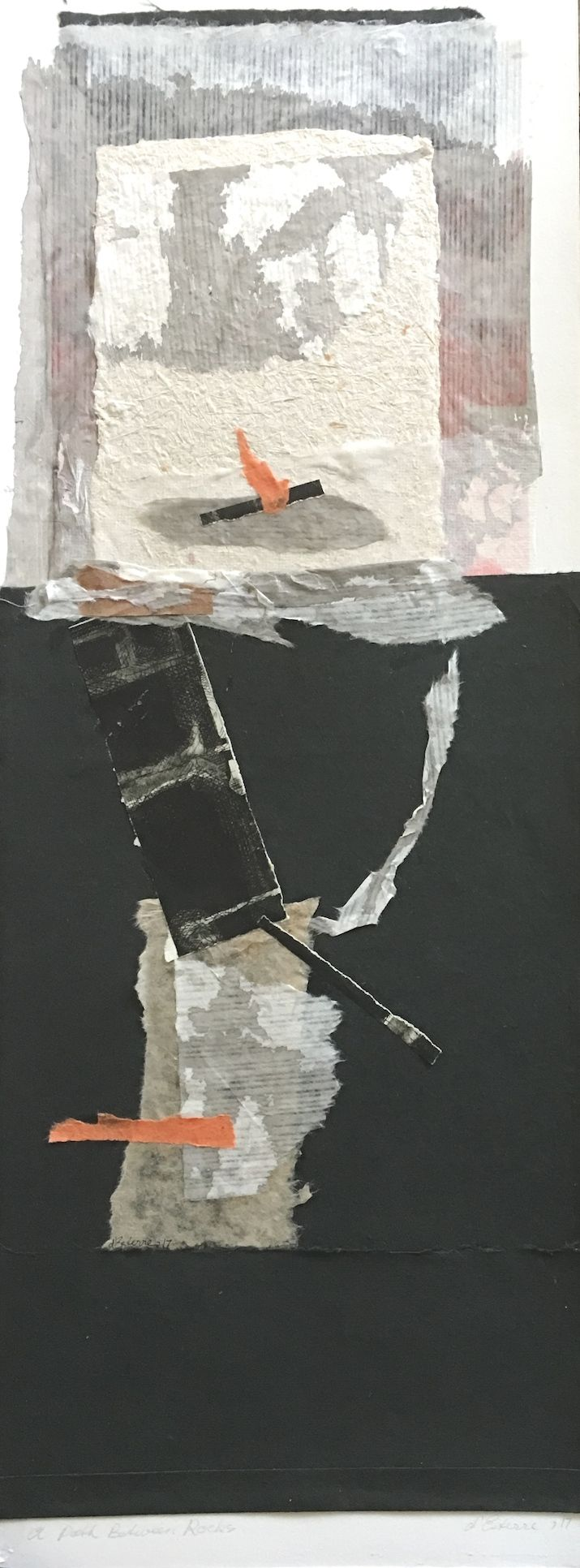 Elaine d'Esterre - A Path Between Rocks, 2017, intaglio, handmade paper and chine colle, 75x30 cm. Visit my ART BLOG at http://elainedesterreart.com/ and http://www.facebook.com/elainedesterreart/ and http://instagram.com/desterreart/