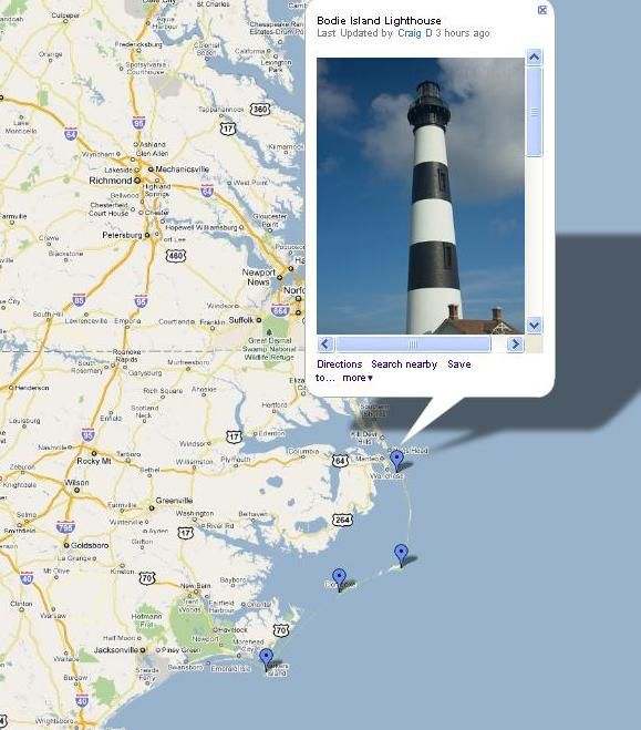 lhmap-coolest-- click on the lighthouse to see pics then driving directions!!!!!! Bucket list Lighthouse trip to NC made easier