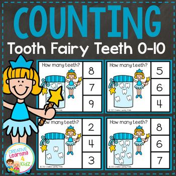 Tooth Fairy Teeth Picture Counting Clip Cards (11 cards)Count the teeth the Tooth Fairy has in her jar and clip the correct number with a clothespin.Numbers 0 - 10Cards print 4 per page.You may also be interested in: Counting Ten Frame Clip Cards 0-10: Mouth Dental HealthMore Counting SetsThis item would be great for any child especially those with Autism, Aspergers, PDD-POS, Speech Delay, etc...The purchaser is granted permission to download and print this item for non-commercial…