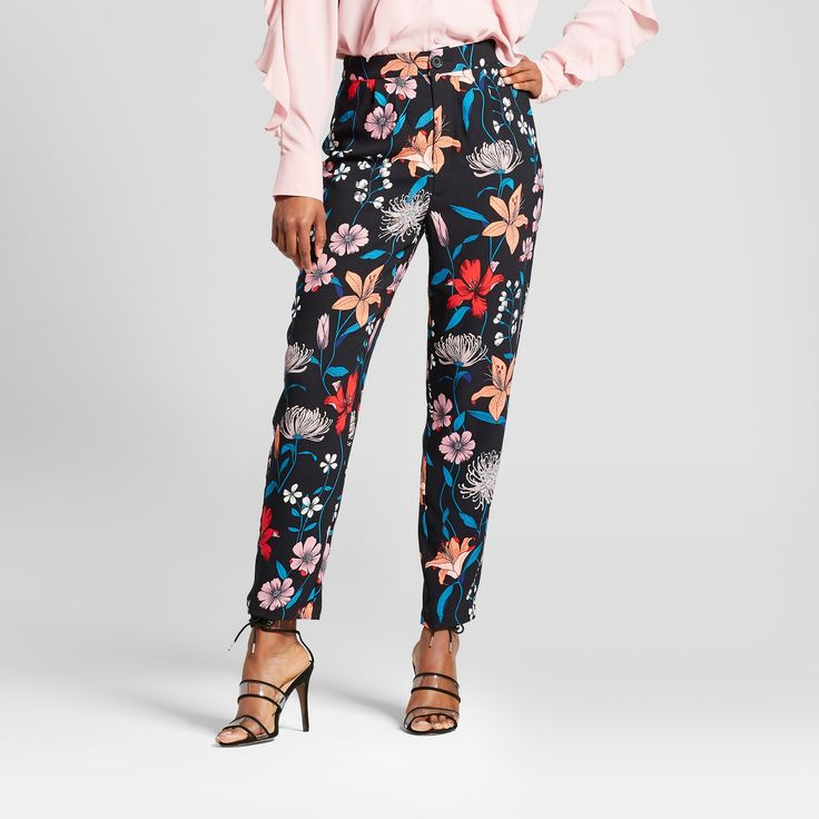 Women's Tapered Ankle Trouser - Who What Wear Black Floral 12