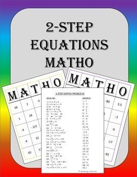 two step equations bingo game equation math and students. Black Bedroom Furniture Sets. Home Design Ideas