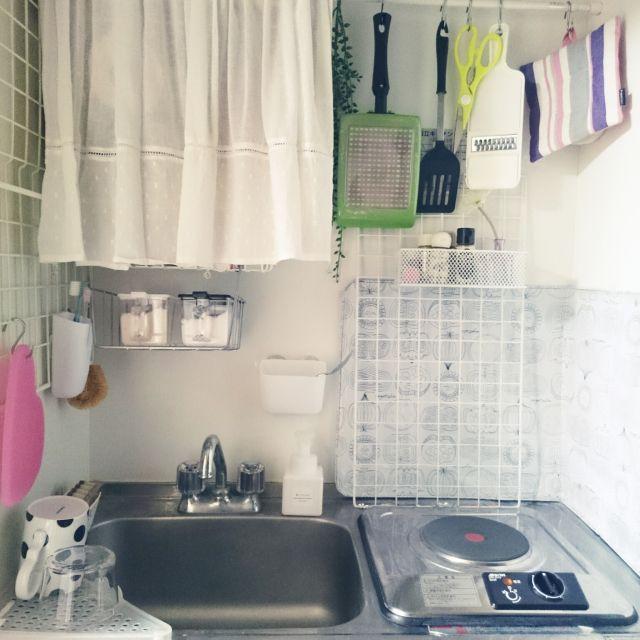 mikansanさんの、激狭,賃貸,狭いキッチン,ミニキッチン,フランフラン,Francfranc,白,無印良品,無印,1K,一人暮らし,シンプル,キッチン,のお部屋写真