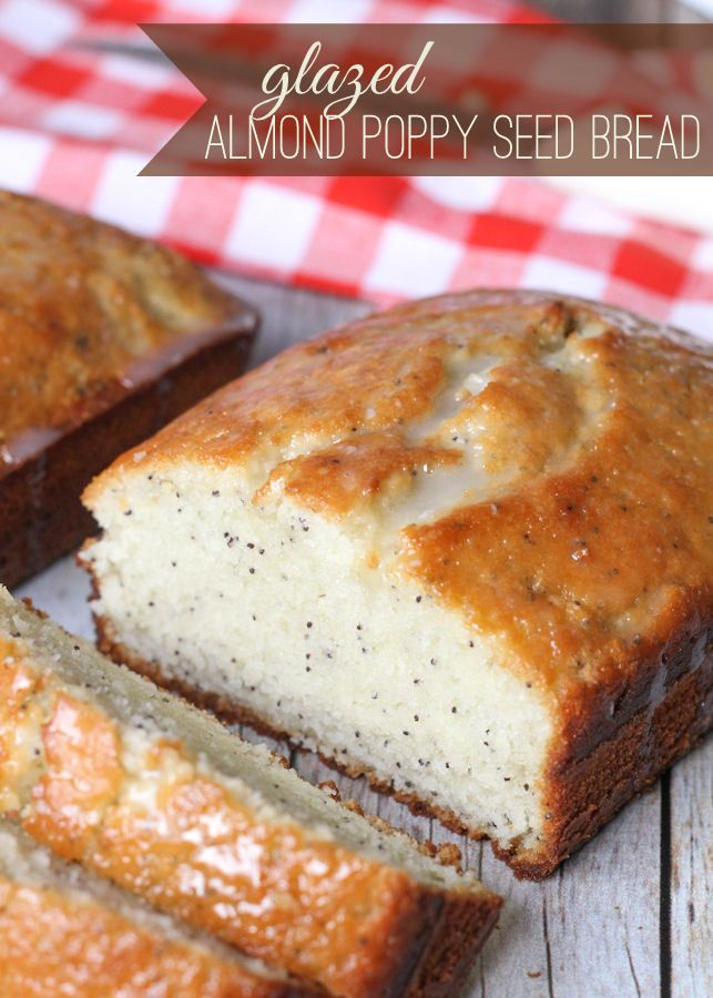 Delicious Glazed Almond Poppy Seed Bread - no yeast involved and so good! Maybe make it with chia seeds instead of poppy seeds