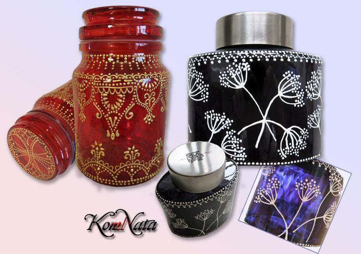 Баночки для кофе. Контуры, витражные краски