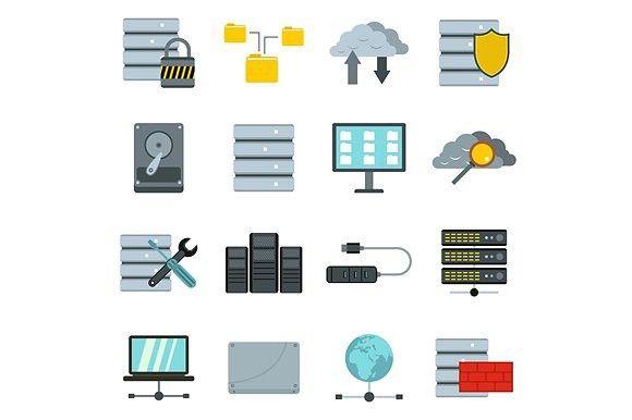 Database icons set, flat style. Objects. $5.00