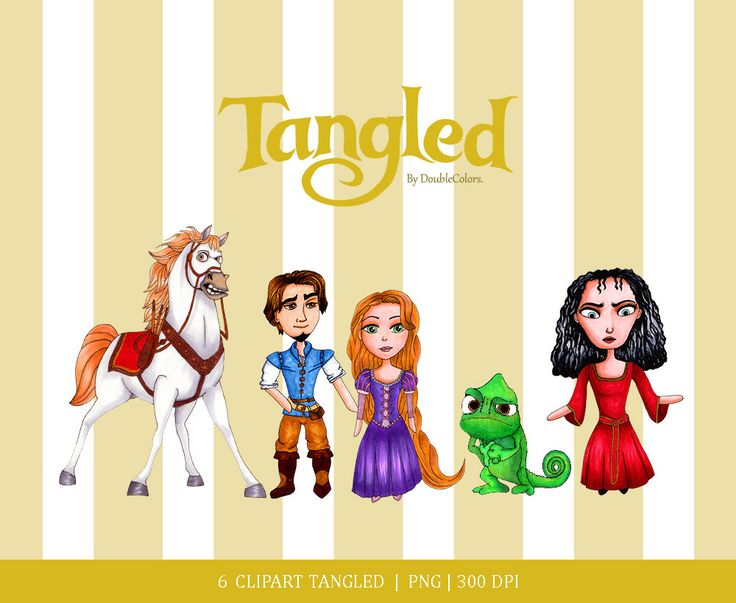 Digital clipart set, Tangled clipart. Princess clipart. Hand made. copic drawing de DoubleColors en Etsy