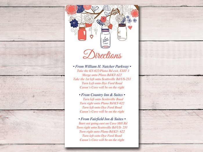 The 25 best wedding direction cards ideas on pinterest how to mason jar wedding directions card template rustic wedding invitation insert dark coral navy instant stopboris Choice Image