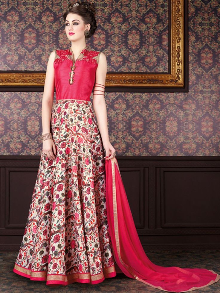 Multi Color and Pink Silk Anarkali Suit with Embroidery Work