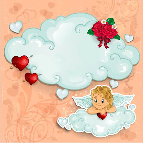 Romantic cupids with text cloud valentine day element vector 01 - Vector Festival free download