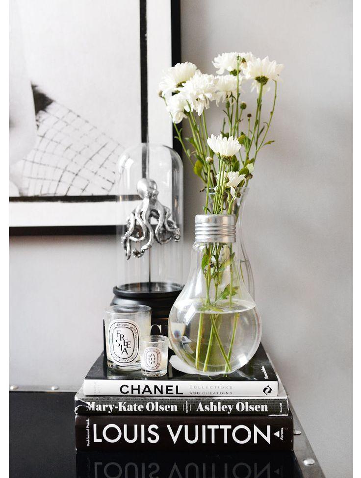 Nettenestea homeoffice hjemmekontor annette haga zgallerie skrivebord love warriors bilde foto interør hjem hus blomster sort hvitt sølv glam