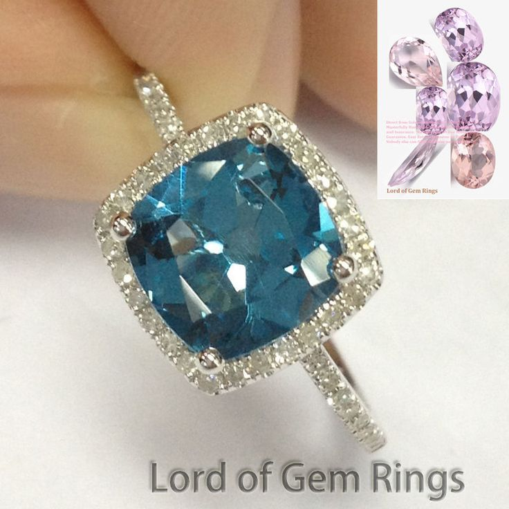$399 7mm Cushion London Blue topaz Halo Pave Diamonds 14K White Gold Engagement Ring #LOGR