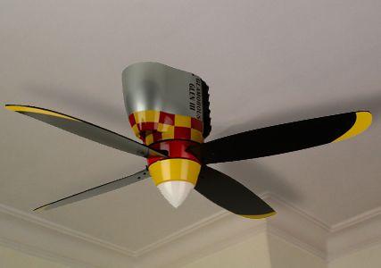 Airplane Propeller Ceiling Fan Fighter Plane Bedroom In