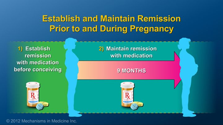 Establishing and maintaining remission of disease symptoms prior to and during pregnancy are essential, and a variety of medications are available to achieve this goal. slide show: ibd treatment options during pregnancy. this slide show describes treatment options during pregnancy for women with inflammatory bowel disease ibd.