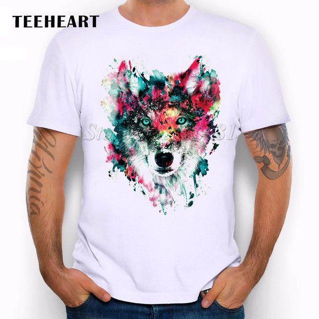 2017 Summer Custom Lion/Owl/Wolf/Tiger/Cat Design T Shirt Men's Watercolor Animal  Graphics Printed Tops Hipster Tees