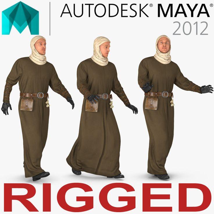 Medieval Man Rigged for Maya 3D model