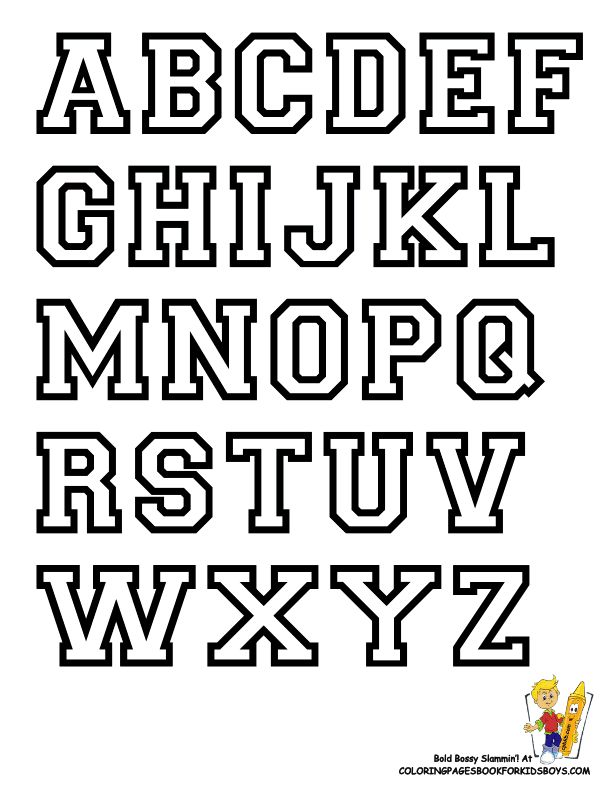 Free Alphabet Letter Print Out | College Alphabet Coloring | College | Sports Alphabet | Free| Sports ...