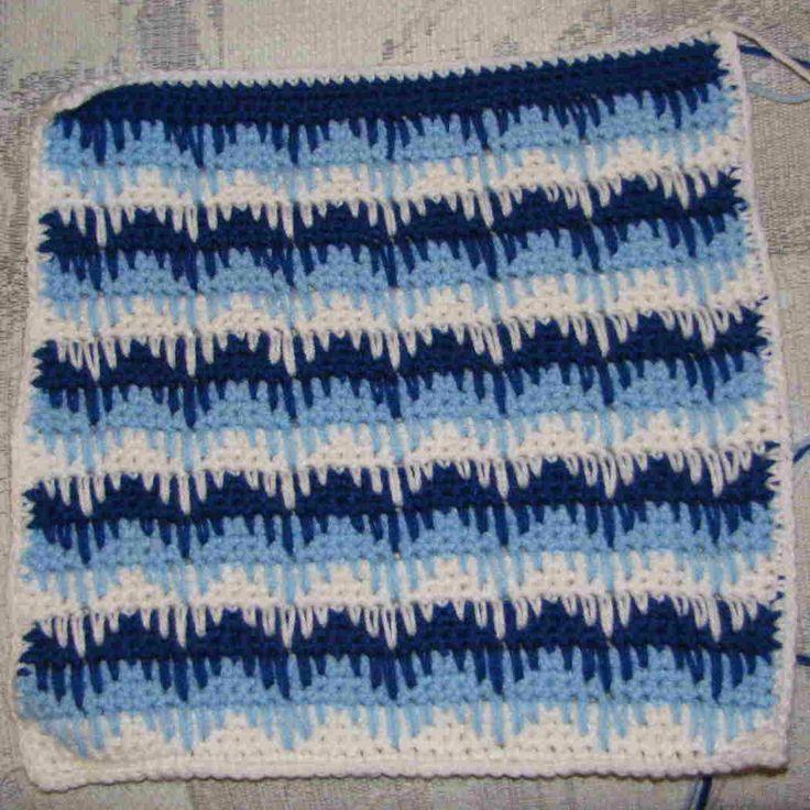 Padrão Sampler Crochet - Teste padrão de ziguezague com Long Crochet Único