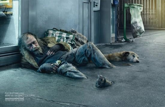 A campaign in Belgium to help homeless in need. The bums are the same as the sidewalk. Bizar! And very clever and artistic poster.