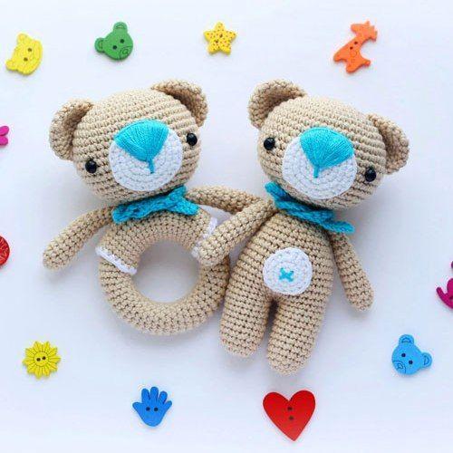Amigurumi teddy bear and rattle - free crochet patterns