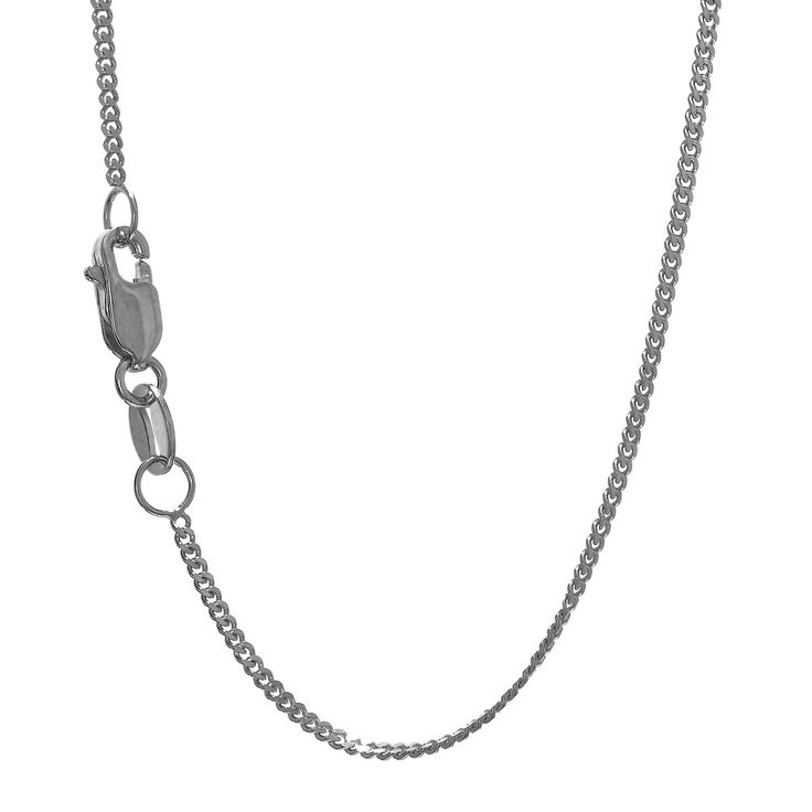 """JewelStop 10k Solid White Gold 1 mm Gourmette Curb Chain Necklace, Lobster Claw Clasp - 18"""". Ravishing and stunning Gourmette Curb Chain necklace brought to you by JewelStop. The Gourmette Curb Chain is crafted in 10k gold stamped and marked. The gold chain is white gold in color and has a lobster claw clasp. We offer you 1 year warranty along with 30 days money back guarantee. The white gold Gourmette Curb Chain is 18"""" in length."""