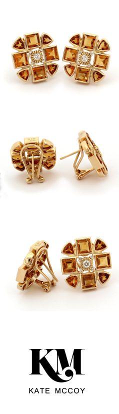 Sacred Flower Earring   18kt yellow gold #diamonds and #citrine. #Celebration #Anniversary #Milestone #Heirloom