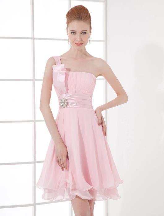 €62.49 - Ruched Roze Appel Kristallen Broche Voorjaar Gasten Van De Bruiloft Jurken