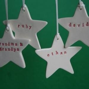 Personalised Christmas star ornaments $24.95 plus postage  Available at www.facebook.com/mybabygiraffe