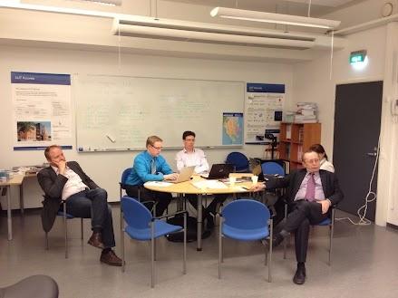 Project meeting, Marko Torkkeli, Erik Raita, Yury Nurulin and Antero Kutvonen listening to Sami's presentation regarding the virtual collaboration platform specs