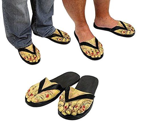 Zombie Feet Slippers Bloody Creepy Halloween Parties Costume Accessory Scary #Beistle
