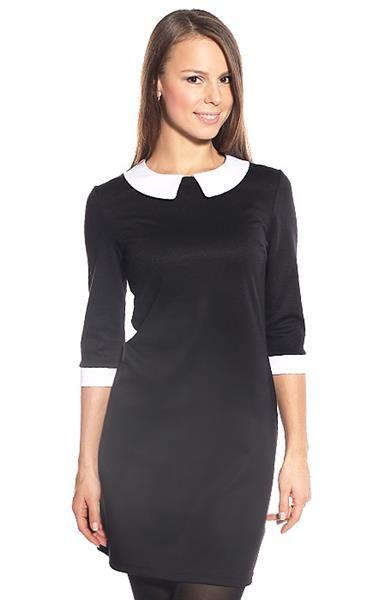 Трикотажное платье черное с белым воротником фото